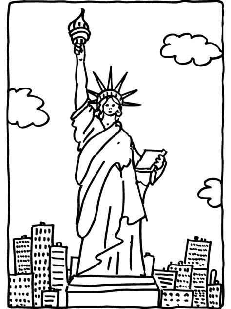 kleurplaat vrijheidsbeeld new york usa kleurplaten nl