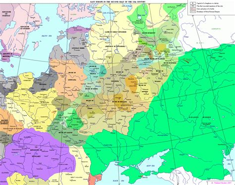 russia and eastern europe map 1300 13th century in russia
