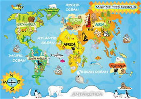 Poster Asia Maps Ukuran A1 childs world map poster animals educational a0 a1 a2 a3 laminated gcw01 ebay