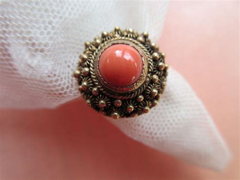 antique 10k coral ring etruscan revival from