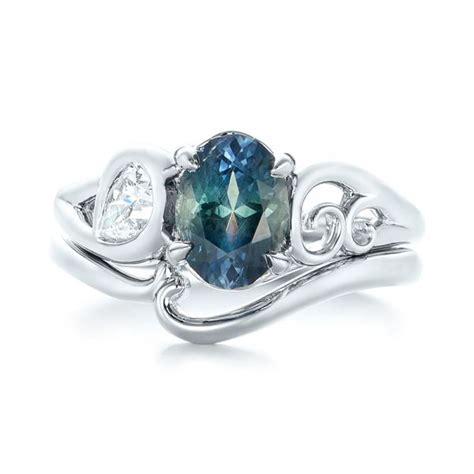 blue green sapphire engagement custom blue green sapphire and engagement ring 103450