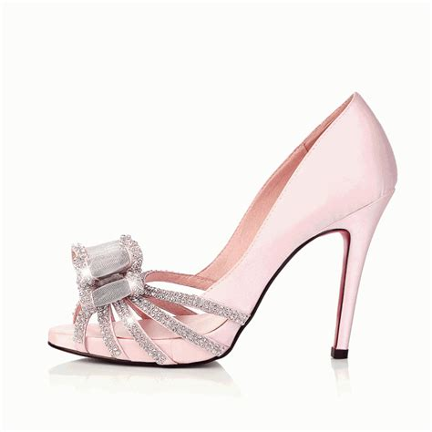 high heel peep toe rhinestone bow pink cheap wedding