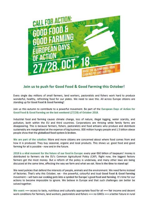 call of the food food farming call for october 27 28 friends of the earth europe