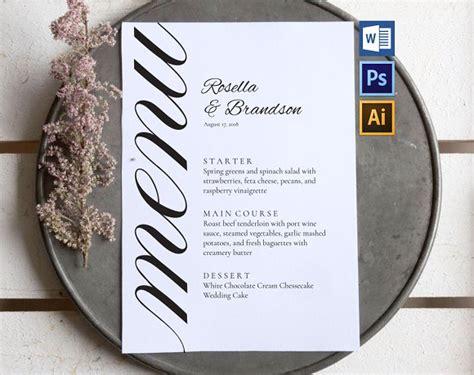 14 Wedding Menu Card Designs Exles Psd Ai Personalized Menu Template