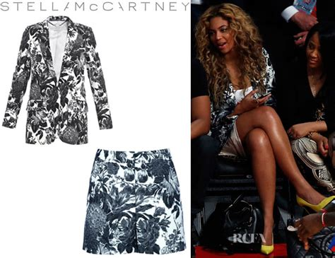 Beyonce Shows Trend High Belted Waists by Beyonce Knowles Stella Mccartney Frazier Flower Print