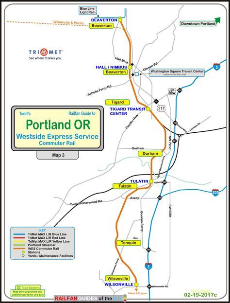 trimet map portland or transit guide wes the westside express service
