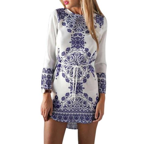 blue pattern long sleeve dress women chinese national style blue and white porcelain