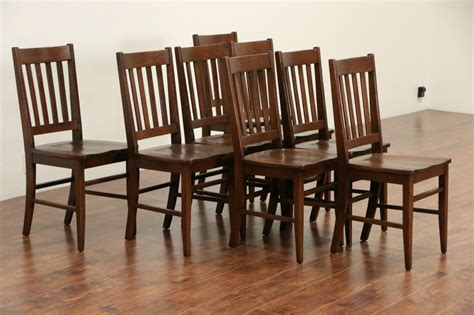 Sold Arts Crafts Style Set Of 8 Vintage Quarter Sawn Craftsman Style Dining Chairs