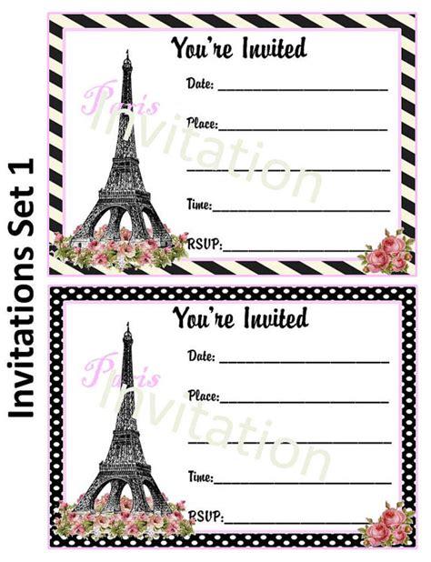 items similar to paris theme party invitation on etsy