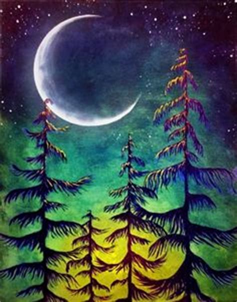paint nite surrey winter moon card pinteres