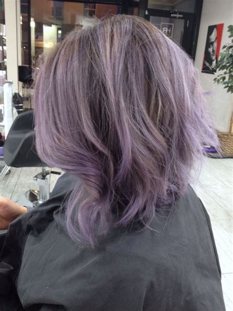asian with lavender hair lavender balayage highlights smoky metallic silver