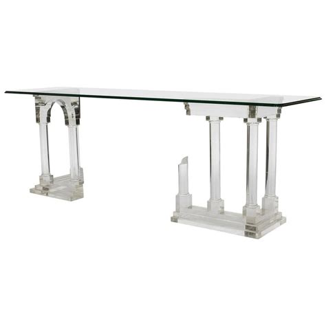 Perspex Console Table Architectural Pillar Console Table In Perspex Lucite Columns Mid Century For Sale At 1stdibs
