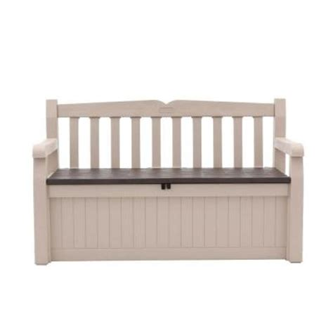 keter 70 gallon bench deck box keter 70 gal bench deck box in beige brown 212745 the