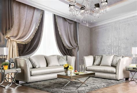 silver living room furniture alessandra silver living room set sm2288 sf furniture of