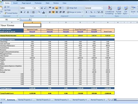 rental expense spreadsheet template landlord rental income and expenses tracking spreadsheet