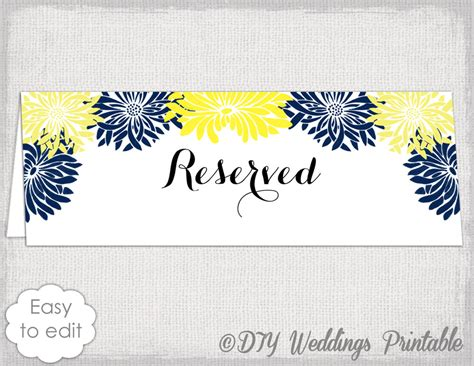 reserved cards for tables templates reserved card template flower burst printable
