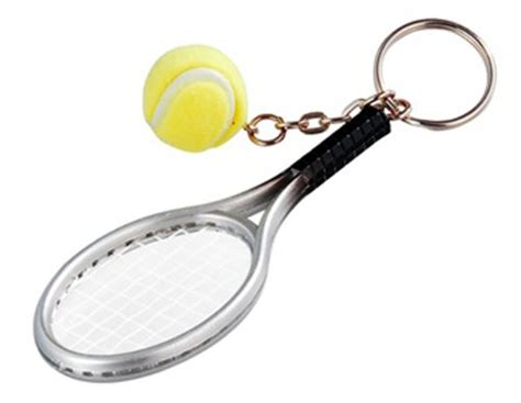 tennis racket key chain silver green by wise will