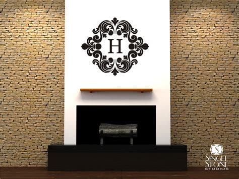 monogrammed wall stickers baroque monogram wall decals wall decals wall