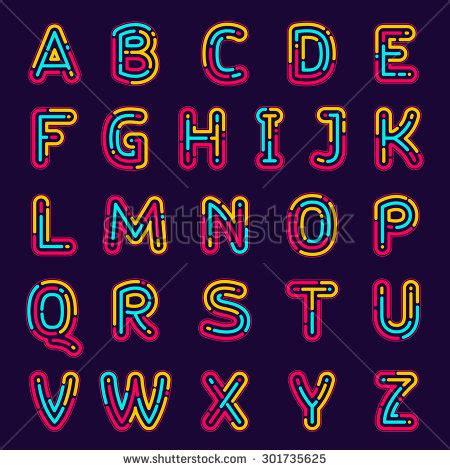 printable neon letters neon line or fingerprint alphabet letters set font style