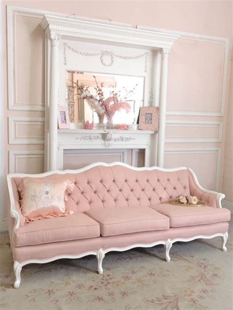 shabby chic settee furniture shabby cottage chic pink linen tufted french style settee