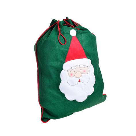 large green felt christmas sack gift bag with stitched