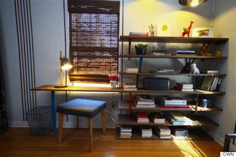 diy bookshelf desk this easy diy bookshelf doubles as a desk huffpost