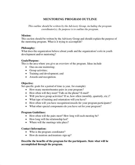 8 Program Outline Exles Sles Mentoring Program Template