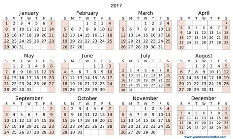 2017 Calendar Download Transparent Calendar Template