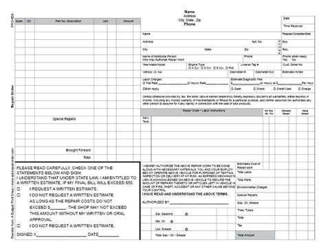 abps business froms automotive repair order template
