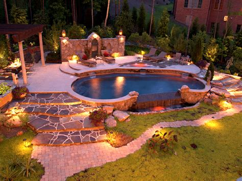 Pool Patio Lighting Creative Curb Concepts Photos Of Landscaping Sted Concrete Borders And Landscape Lighting