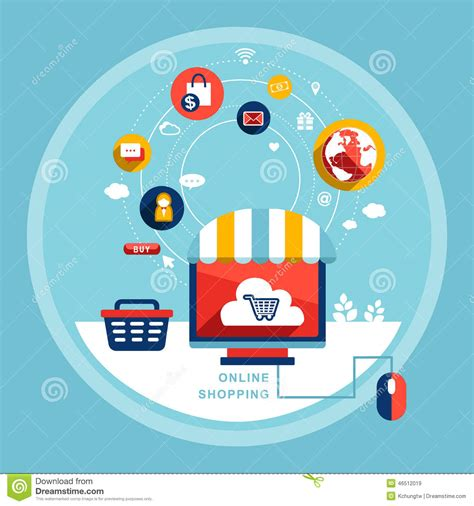 design online marketplace flat design online shopping concept cartoon vector
