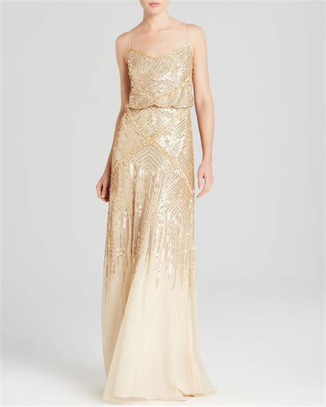 gold beaded dress papell sleeveless beaded blouson gown