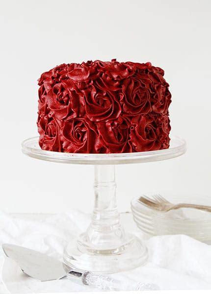 Powder Room Decoration - red velvet buttercream rose cake i am baker