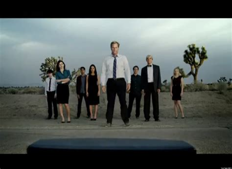the news room the newsroom trailer cast stands alone in the desert of tv