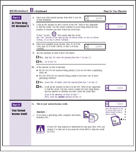 Eic Worksheet B by Publication 596 Earned Income Credit Eic Earned Income