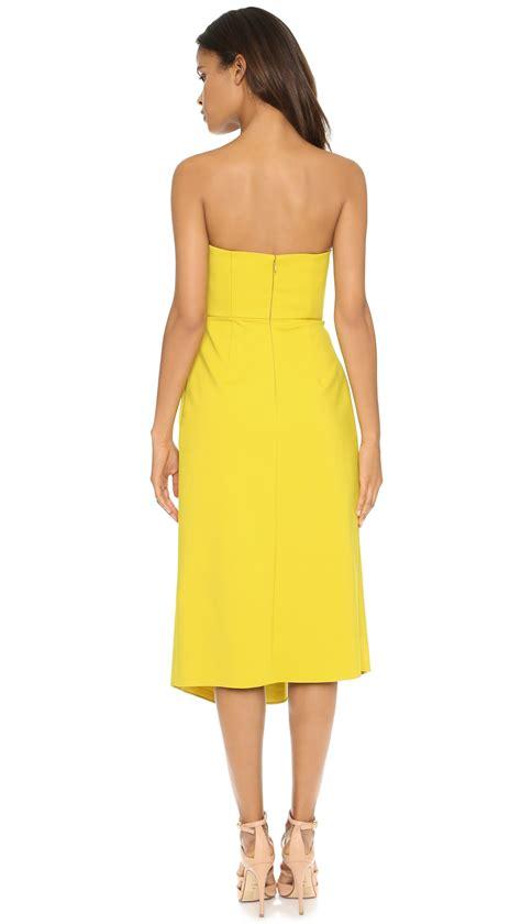 Strapless Chiffon Midi Dress strapless yellow midi dress dress uk