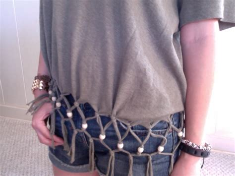 how to fringe and bead a shirt designs diy fishnet t shirt