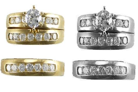 14k yellow white gold trio bridal sets his and hers