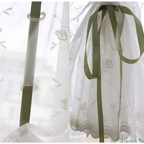 pull cord drapes rose embroidery sheer pull up curtain