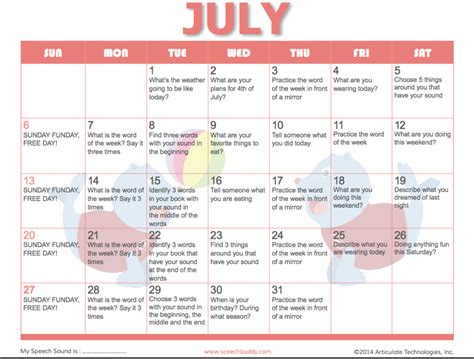 therapy ideas speech therapy activity calendar speech buddies blog