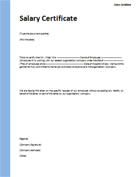 Salary Certificate Request Letter For Bank Loan Salary Certificate Format Microsoft Word Templates