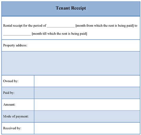 receipt template for tenant exle of tenant receipt