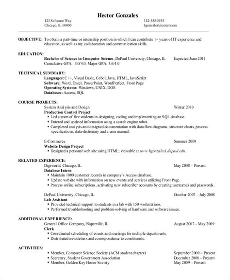 Exles Of Entry Level Resumes by 9 Entry Level Resume Exles Free Premium Templates