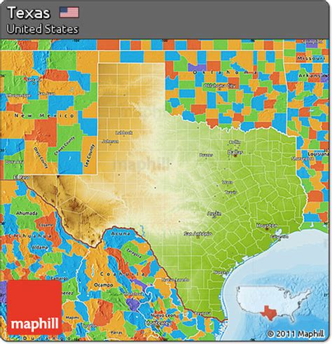 physical map texas free physical map of texas political outside