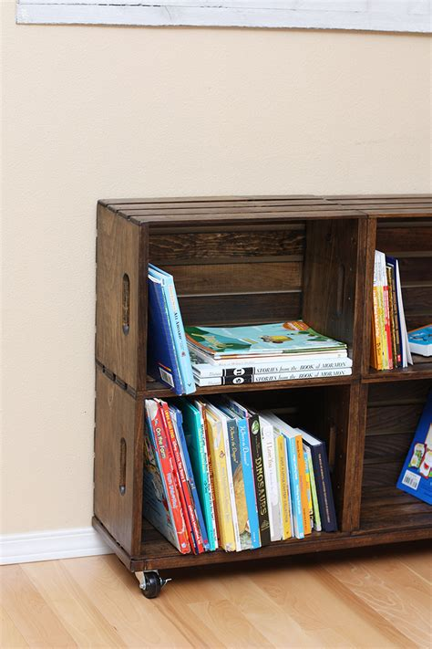 diy wood crate bookshelf sew much ado