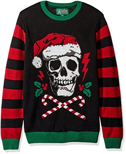 mens light up ugly christmas sweater ugly christmas sweater men s light up santa scull sweater