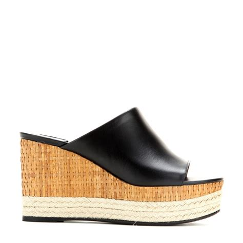 Wedge Mules ferragamo maimei leather wedge mules in black lyst