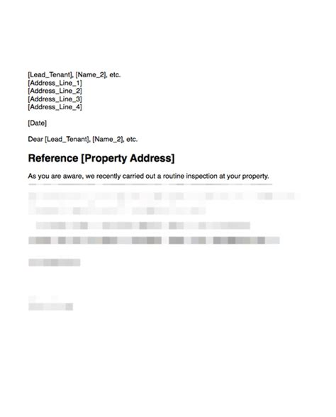 Inform Tenant That Property Good Condition After Inspection Grl Landlord Association Property Inspection Letter To Tenant Template