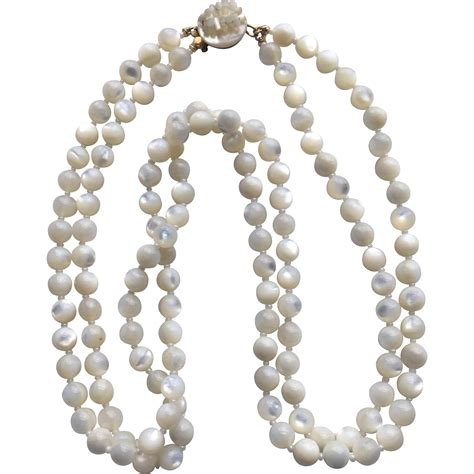 of pearl l vintage two strand of pearl bead necklace pretty