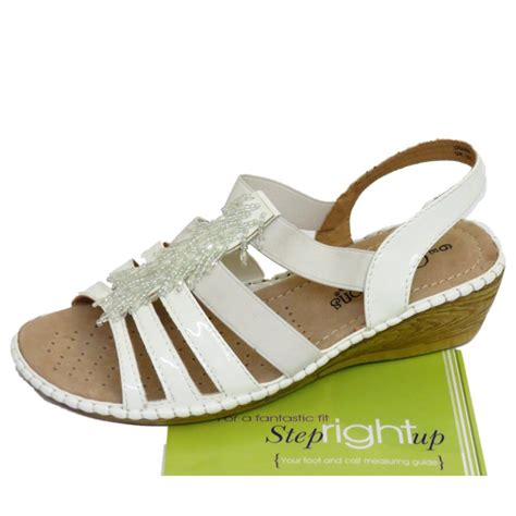 ladies comfort sandals uk ladies white strappy elastic wedge comfort wide fit eee